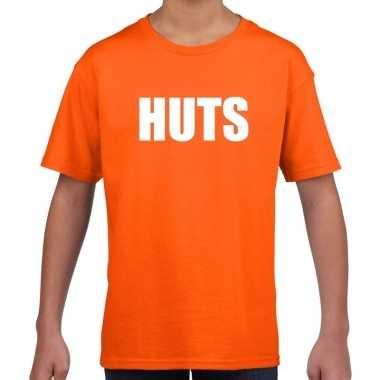 Huts tekst t shirt oranje kids