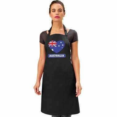 I love australie keukenschort/ barbecueschort zwart volwassenen