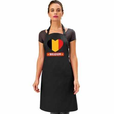 I love belgie keukenschort/ barbecueschort zwart volwassenen