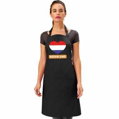 I love nederland keukenschort barbecueschort zwart volwassenen