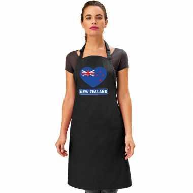 I love nieuw zeeland keukenschort/ barbecueschort zwart volwassenen