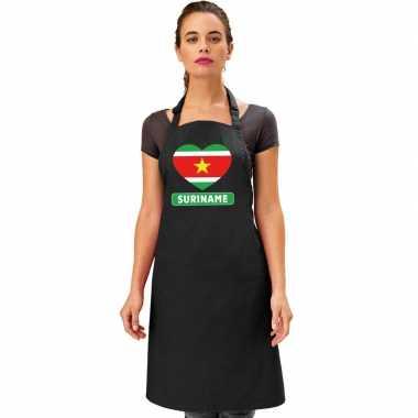 I love suriname keukenschort/ barbecueschort zwart volwassenen