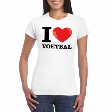 I love voetbal t shirt wit dames
