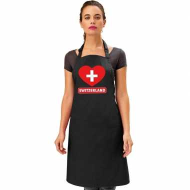 I love zwitserland keukenschort/ barbecueschort zwart volwassenen