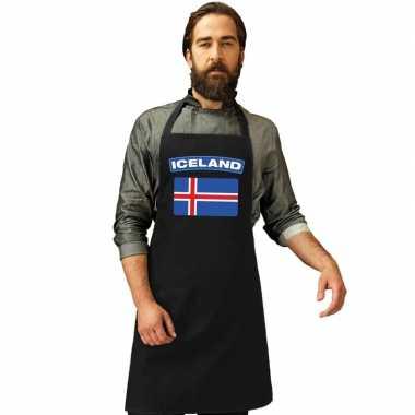 Ijsland vlag barbecueschort/ keukenschort zwart volwassenen