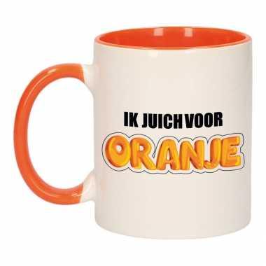 Ik juich oranje mok/ beker oranje wit 300 ml