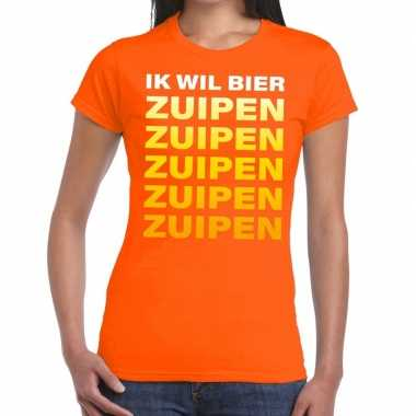 Ik wil bier zuipen tekst t shirt oranje dames