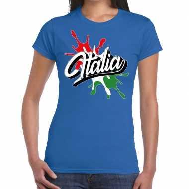 Italia/italie t shirt spetter blauw dames
