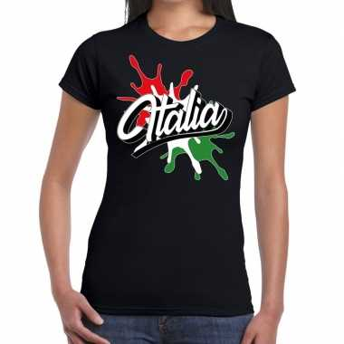 Italia/italie t shirt spetter zwart dames