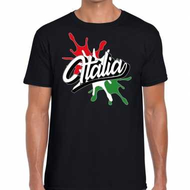 Italia/italie t shirt spetter zwart heren