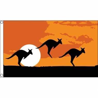 Kangoeroe thema australie vlag 90 150
