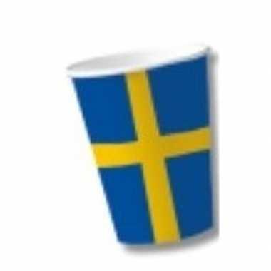Kartonnen bekers vlag zweden 10 x