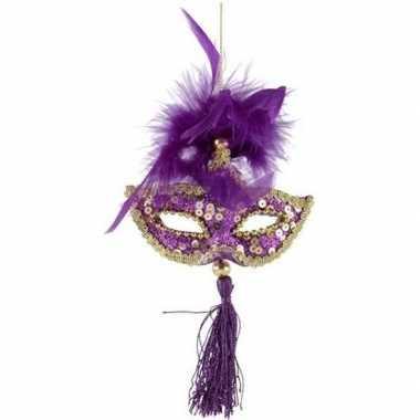 Kerstboomhanger/kersthanger paars/goud oogmaskertje veren 17