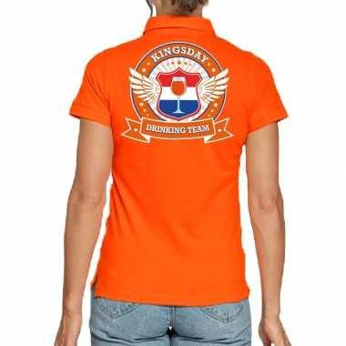 Kingsday drinking team poloshirt oranje dames