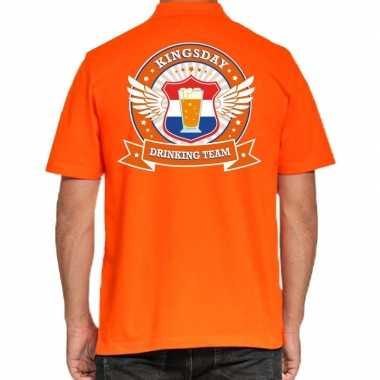 Kingsday drinking team poloshirt oranje heren