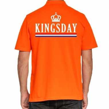 Kingsday poloshirt vlag oranje heren