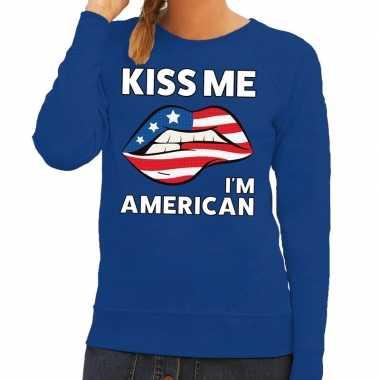 Kiss me i am american sweater blauw dames