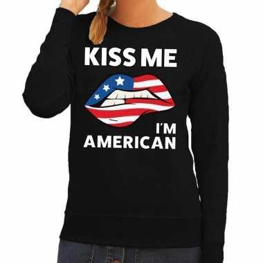 Kiss me i am american sweater zwart dames