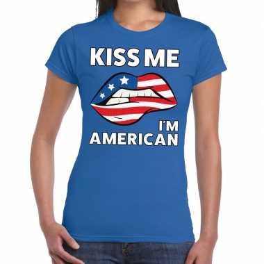 Kiss me i am american t shirt blauw dames