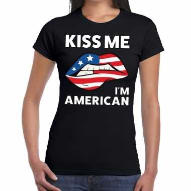 Kiss me i am american t shirt zwart dames