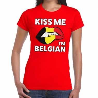 Kiss me i am belgian t shirt rood dames