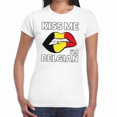 Kiss me i am belgian t shirt wit dames