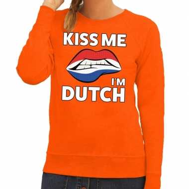 Kiss me i am dutch sweater oranje dames