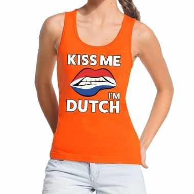 Kiss me i am dutch tanktop / mouwloos shirt oranje dames