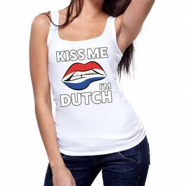 Kiss me i am dutch tanktop / mouwloos shirt wit dames
