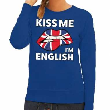 Kiss me i am english sweater blauw dames