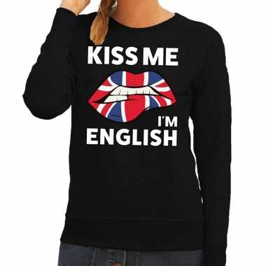 Kiss me i am english sweater zwart dames