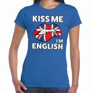 Kiss me i am english t shirt blauw dames