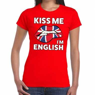 Kiss me i am english t shirt rood dames