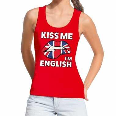 Kiss me i am english tanktop / mouwloos shirt rood dames
