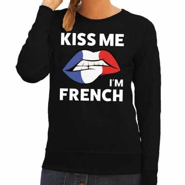 Kiss me i am french sweater zwart dames