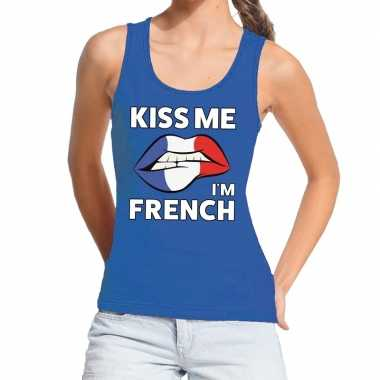 Kiss me i am french tanktop / mouwloos shirt blauw dames