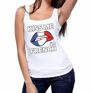 Kiss me i am french tanktop / mouwloos shirt wit dames