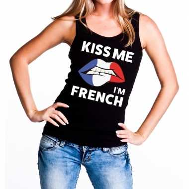 Kiss me i am french tanktop / mouwloos shirt zwart dames