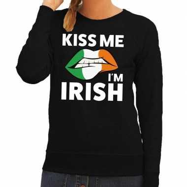 Kiss me i am irish sweater zwart dames