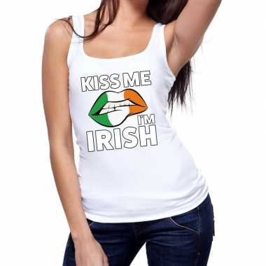 Kiss me i am irish tanktop / mouwloos shirt wit dames