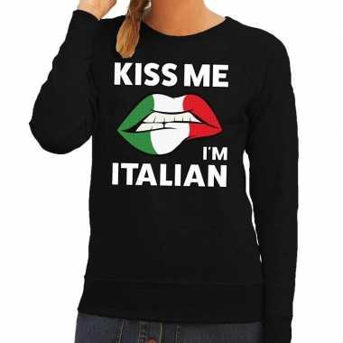 Kiss me i am italian sweater zwart dames