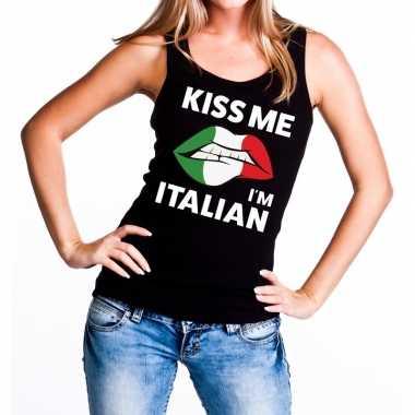 Kiss me i am italian tanktop / mouwloos shirt zwart dames