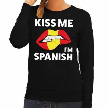 Kiss me i am spanish sweater zwart dames