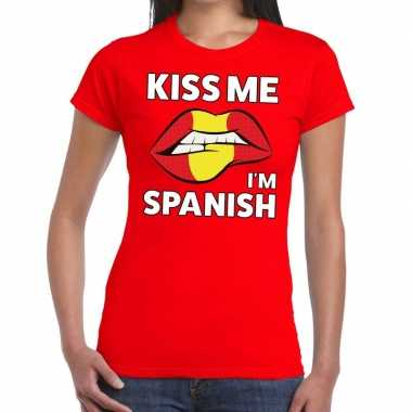 Kiss me i am spanish t shirt rood dames
