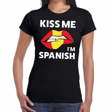 Kiss me i am spanish t shirt zwart dames