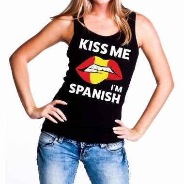 Kiss me i am spanish tanktop / mouwloos shirt zwart dames