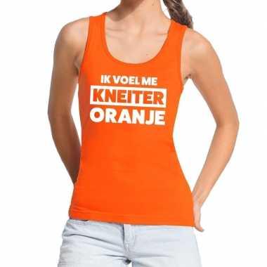 Kneiter oranje koningsdag tanktop / mouwloos shirt oranje dames