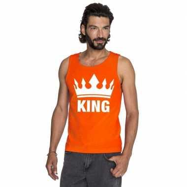 Koningsdag king singlet oranje heren