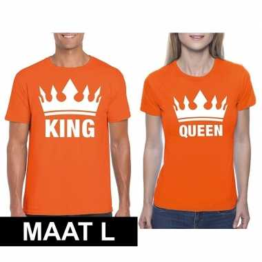 Koningsdag koppel king & queen t shirt oranje maat l