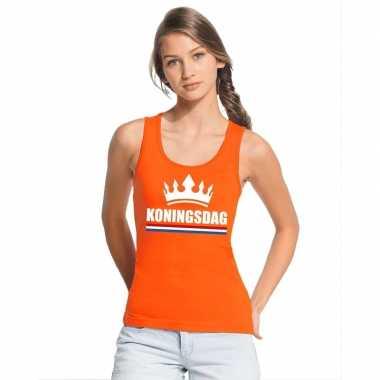 Koningsdag kroon singlet oranje dames